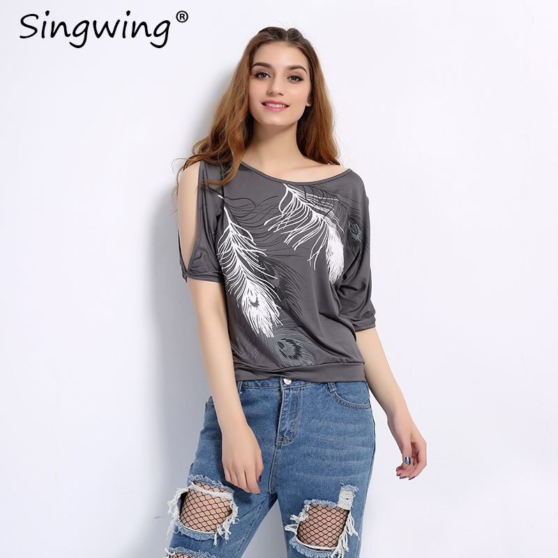 HTB1AJdeSXXXXXb1XpXXq6xXFXXX3 - Summer Women Feather Printed T-shirts O- neck Strapless Shirts Off Shoulder