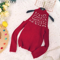 JKKUCOCO Europe Hot Beading Hollow Out Shoulder Winter Sweater Women Pullovers Half turtleneck Cotton Knitted sweaters 6 Colors