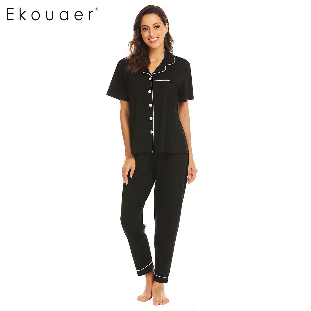 Ekouaer Women Cotton   Pajamas     Set   Sleepwear Short Sleeve Long Pant   Sets   Maternity Nursing Breastfeeding   Pajama     Sets   Homewear