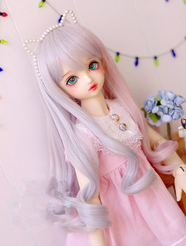 Doll wigs silver gray and pink mixed color long wigs available for 1/6 1/4 1/3 BJD SD DD MDD doll accessories for dolls 1pc silver 1 3 1 4 bjd dolls display stand holder 60cm 50cm sd bjd dolls access 72xc