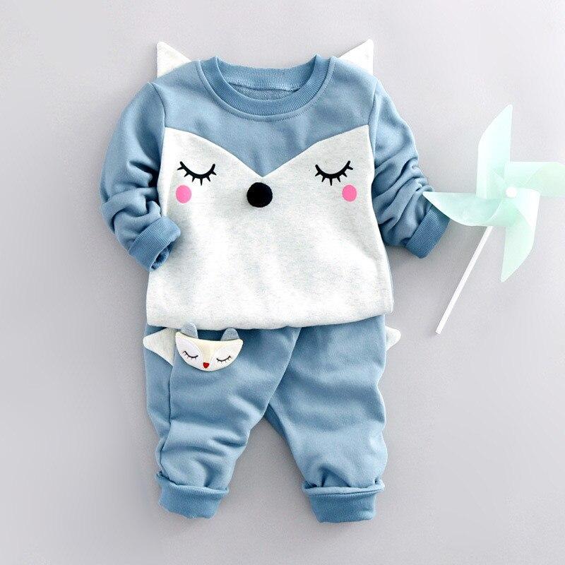 27e4bf581fb New Brand Baby Girls Clothing Sets Spring Autumn Long Sleeve Cartoon Fox T- Shirts  Pants