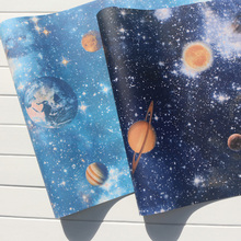 Mural Wallpapers Home Decor Oueter Space Wall Paper for Kids Bedroom Planet Children Night Star Room Blue  behang