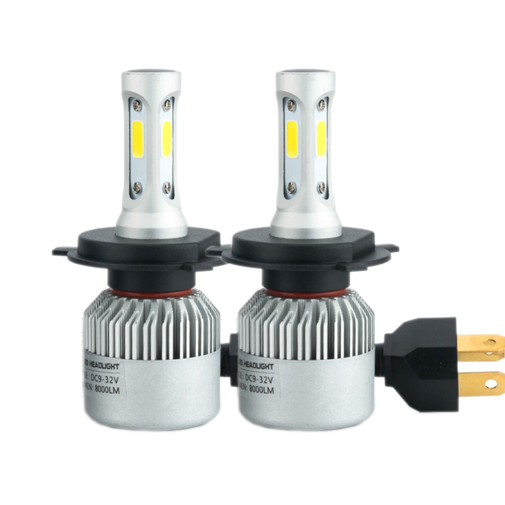 One Pair H7 Led H1 H3 H4 H11 9005 9006 COB LED Car Headlight 72W 8000LM Auto LED Lights Fog Headlamp Bulb 6500k Car Light Source s2 h1 h3 h7 h11 9005 9006 cob led car headlight light replacement bulb canbus 6500k auto drl fog driving lamp 72w
