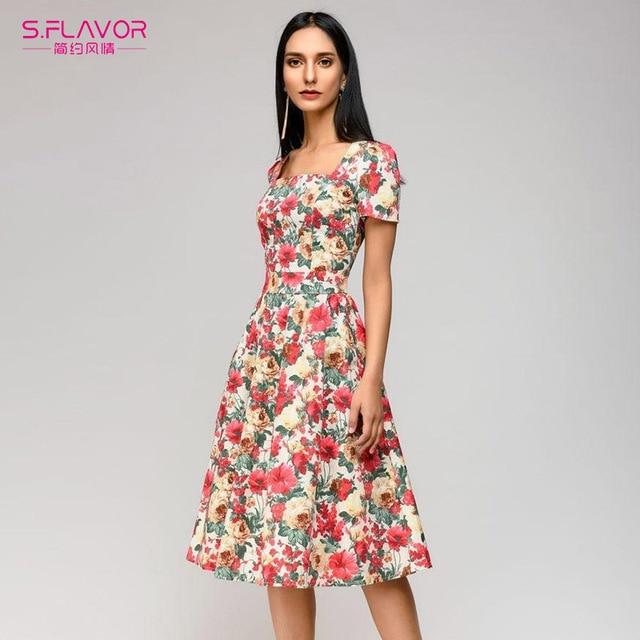 ad01d12fa Las mujeres vestido de verano Vintage Casual 2018 Collar cuadrado vestido  elegante fiesta Vestidos estilo bohemio