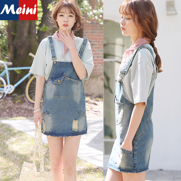 373578f50f2c 2015 New Preppy Style Korean Cute Rompers Jeans Overalls Girls Sweet Summer  Fashion Ripped Loose Jumpsuit Denim Women