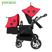 Twin Stroller Baby Carriage For Twins Prams For Newborns Cute Ladybug Panda Pattern Pram Twins Lightweight Double Strollers