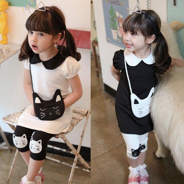 Cartoon Girls Dress Sets Hello Kitty Dress+Leggings 2Pcs Girl Clothing Set Summer Girls Clothes Kids Clothes for 3~8Y Girl CF187