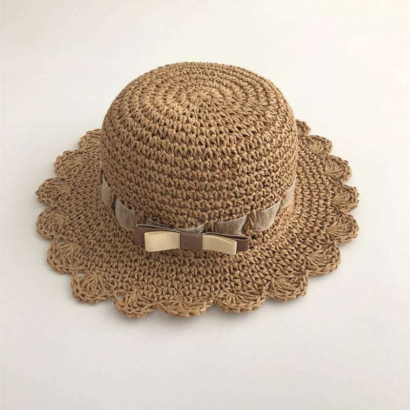 52a4e85f5c0 Ribbon Bowtie Girls Hat Summer Baby Sun Hat Straw Hat Toddler Kids Beach  Hat Girls Sun