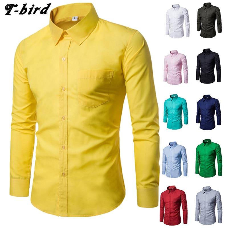T vogel 2018 jurk shirt mannen casual effen kleur shirt katoen slanke - Herenkleding