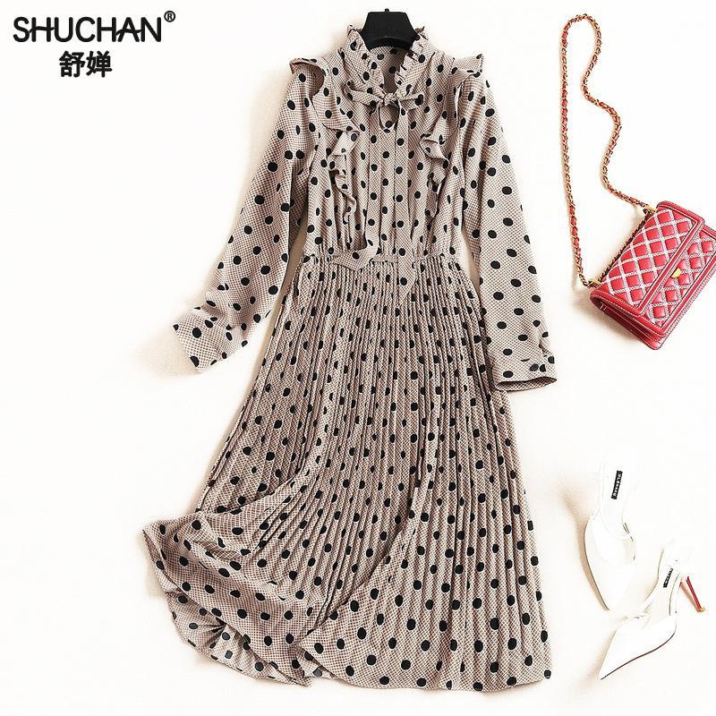 Shuchan Preppy Style Dot Plissée robe pour femmes 2019 Robes de Femmes Pour Le Printemps Ruches mi-mollet Arc Élégant Robes 50279