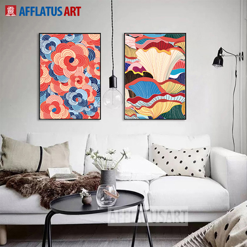 Afflatus Official Store AFFLATUS Leaves And Flowers Impressions Art Freehand Canvas Painting Wall Living Room Bedroom Study Nature Art Printing Poster