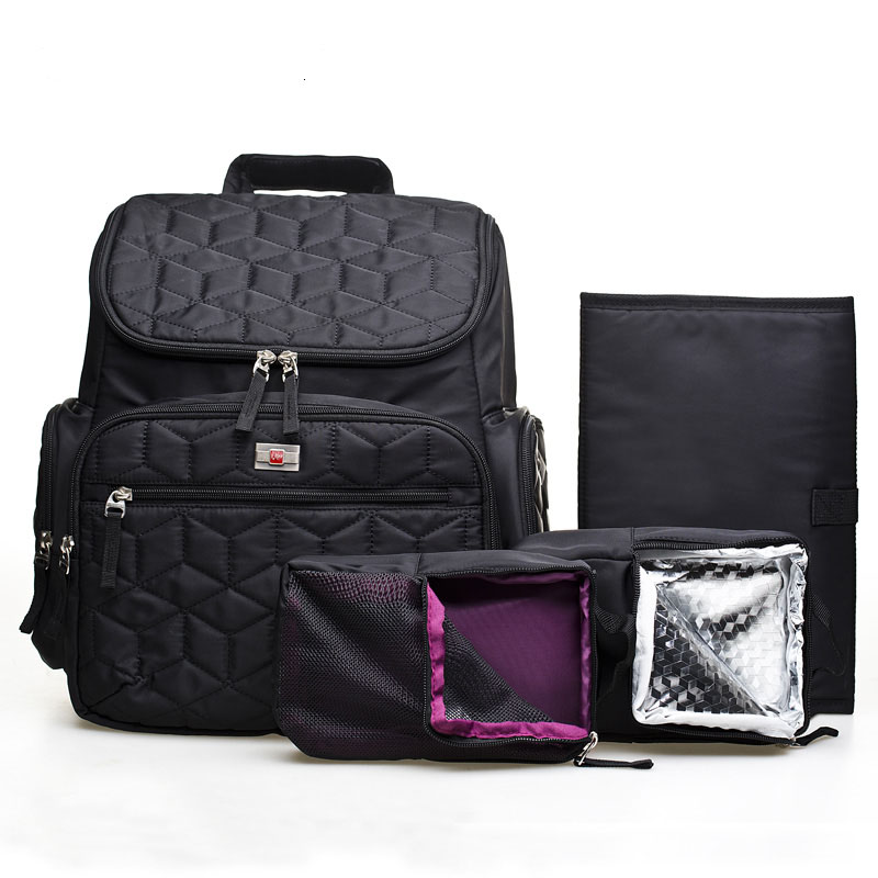 4pcs/set Baby Diaper Bags Waterproof Solid Diaper Backpacks Mother Nappy Bags Maternity Large Capacity Stroller Baby Bag Pattern