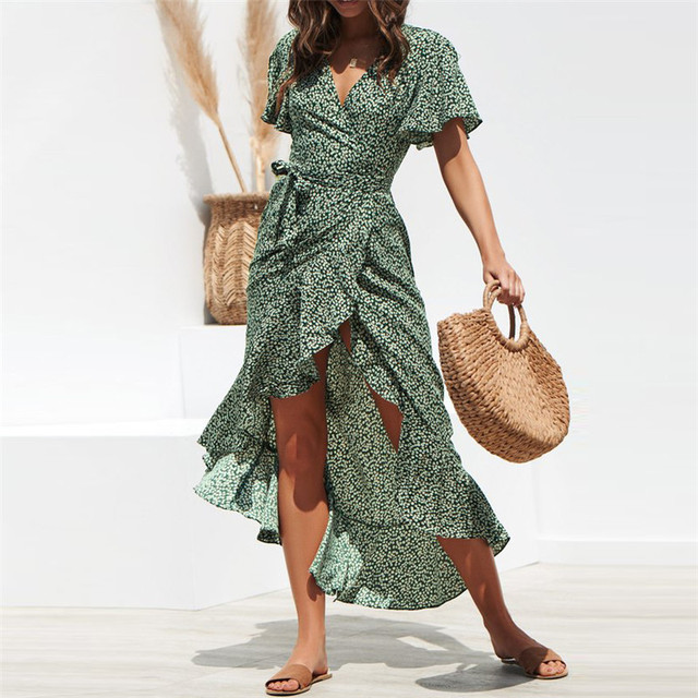 HiloRill Summer Beach Maxi Dress Women Floral Print Boho Long Dress Ruffles Wrap Casual V-Neck Split Sexy Party Dress Robe Femme 2