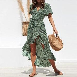 Image 2 - Hilorillサマービーチマキシドレス女性花柄自由奔放に生きるロングドレスフリルラップカジュアルvネックスプリットセクシーなパーティードレスローブファム