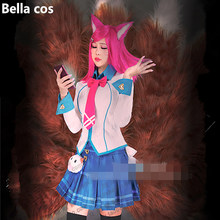 Custom size LOL Star Guardian judgement Ahri cosplay costume school uniform top skirt dress Carnival Halloween Anime clothes cos(China)