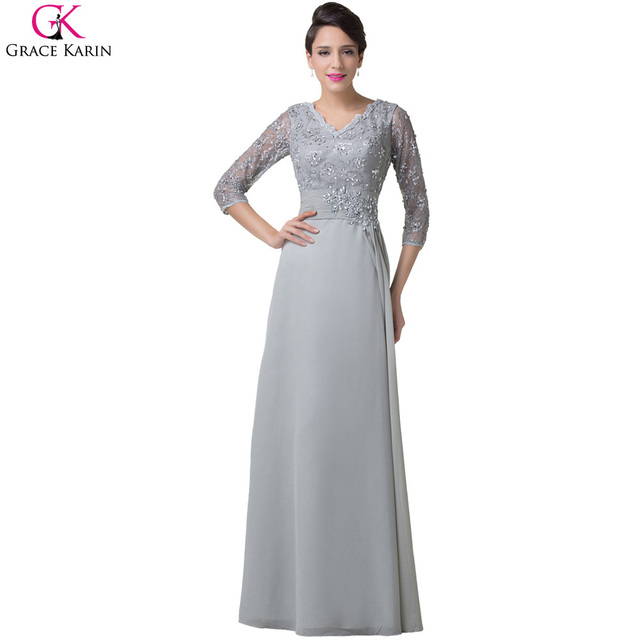 Long Grace Karin Grey Chiffon Plus Size Wedding Party Formal Night ...