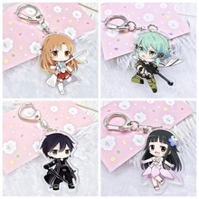 5 Style Sword Art Online Kirito AsunaYuuki Sinon Keychain Acrylic Print Cartoon Figures Pendants Keyrings Children Toys