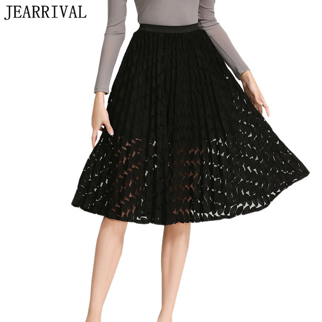 2017 New Women Lace Skirt Summer Fashion High Waist Solid Color Hollow Out Ball Gown Midi Skirt Saia Faldas Largas