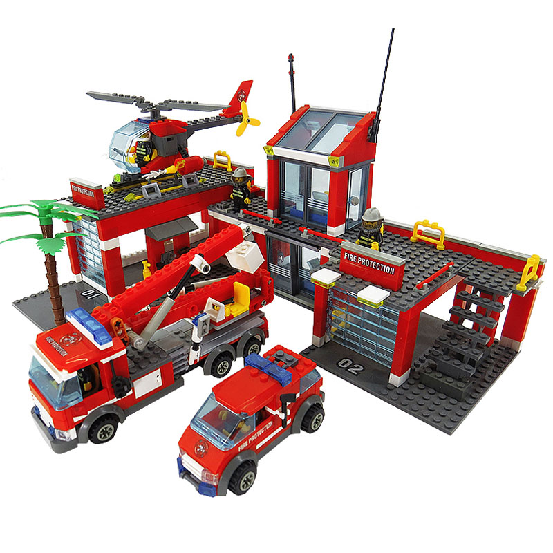 774pcs City Fire Station Building Blocks Educational Bricks Toys For Children Compatible with legoe city Firefighter playmobile gudi 9217 874pcs city fire station helicopter firemen building block diy educational toys for children compatible legoe