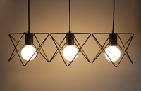 Vintage retro pendant lamp metal M cage lampshade lighting hanging light fixture