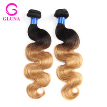 2Pcs ombre hair brazilian virgin hair body wave 1b/27 ombre human hair  8a human hair weave bundles 10-30 inches two tone