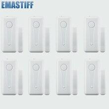 Freies verschiffen eMastiff 8 stücke Drahtlose Tür Fenster Kontaktieren Lücke Sensor Detektor Tür Schalter 433MHz mit Enternal Antenne 8 stücke