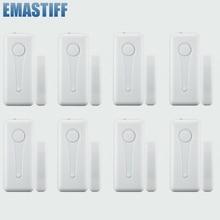 จัดส่งฟรี eMastiff 8pcs ประตูหน้าต่าง Gap SENSOR เครื่องตรวจจับสวิทช์ประตู 433MHz พร้อม Enternal เสาอากาศ 8pcs