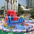 Гигантский надувной бассейн слайд/надувной бассейн, водная горка парк развлечений игра сюда детей и взрослых