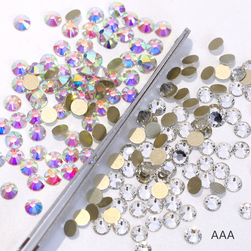 a5f633596a US $4.19 | SS3 SS40 AAA Flatback Glass Strass Non Hot rhinestone crystal AB  clear Non Hotfix Rhinestones for 3D Nail decoration Y3182-in Rhinestones ...