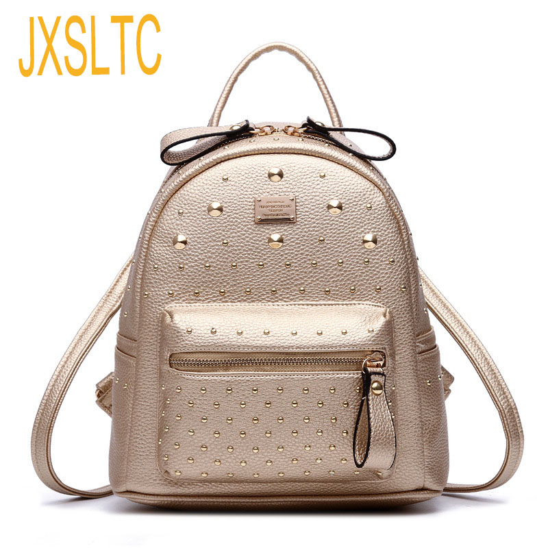 JXSLTC Womens PU Leather Rivet Backpack Female Backpack for Adolescent Girl Casual Small Backpacks Women Pouch Fashion Lady Bag fashion design women backpack leather star rivet black female youth satchel