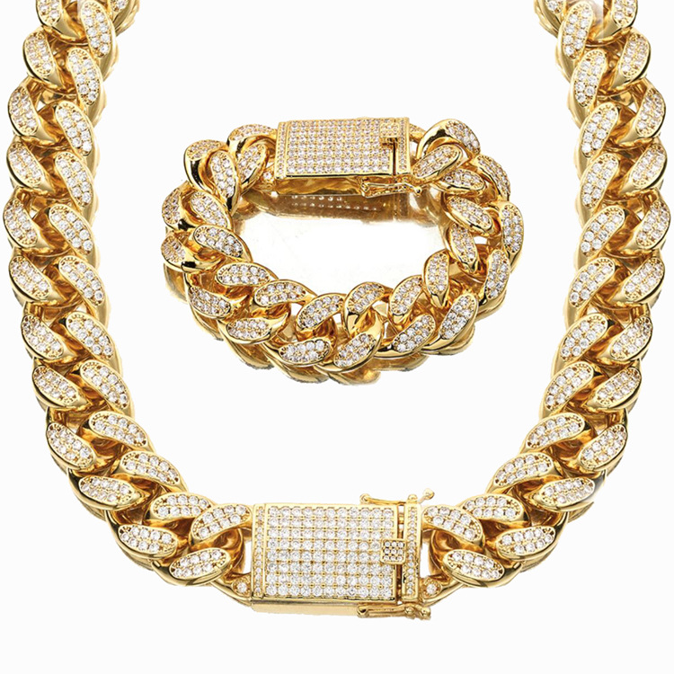 18mm Wide Gold Color AAA Rhinestone Cuban Necklace Bracelets Set Men Hip Hop Bling Iced Out Link Chain Jewelry