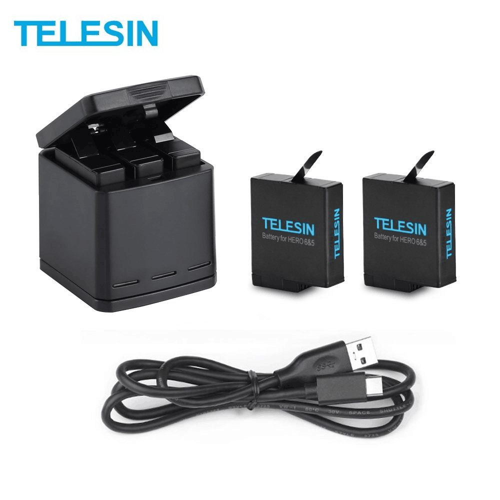 TELESIN 2 Pack Battery+3 Slots Battery Charging Box +USB Charging Cable for GoPro Hero 5 Hero 6 Charger Battery Accessories