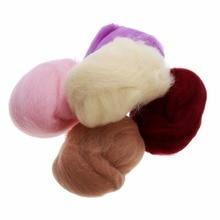 1 Набор, 5 г, 17 цветов, пушистые волокна мериносовой шерсти, ровинг для игл, валяния, ручное прядильное волокно, искусство, ручная работа, Набор для творчества