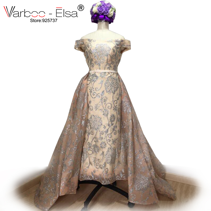 VARBOO  ELSA Silver Glitter Sequins Mermaid Evening Dress 2018 Arabic  Dresses Detachable Train Evening Gown Muslim Evening Dress-in Evening  Dresses from ... 6374fb9d30bf