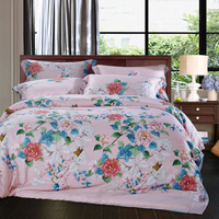 Cotton Bamboo Fiber Tencel Flowers Bedding Set Duvet Cover Bed Sheet Pillowcases Bed Linen Bedclothes King