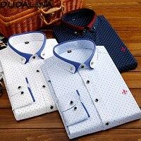 Dudalina двойной воротник осень Для мужчин одежда Slim Fit Для мужчин рубашка с длинными рукавами Для мужчин в горошек Повседневное Для мужчин руба...