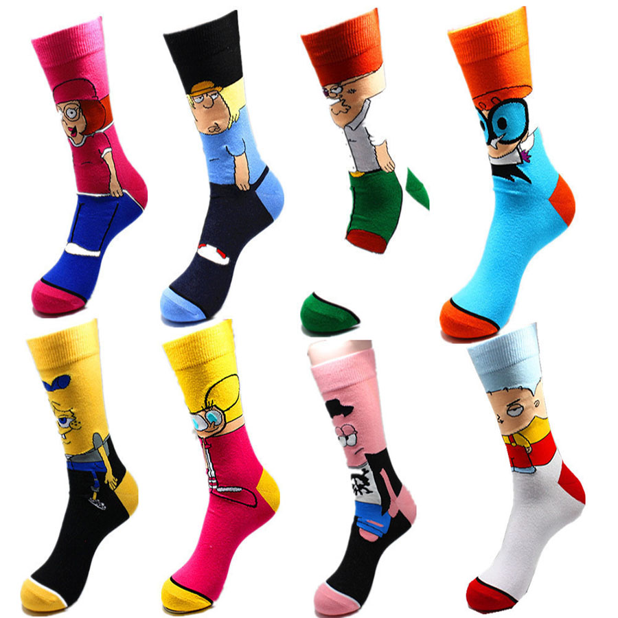 Print-Socks Patrick Star Funny Anime Pink Novelty Yellow Breathable Personalized Men