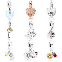 10 Style Silver Plated Pendant Rainbow Key Coffee Cup Shell For Women Pandora Charms Bracelet