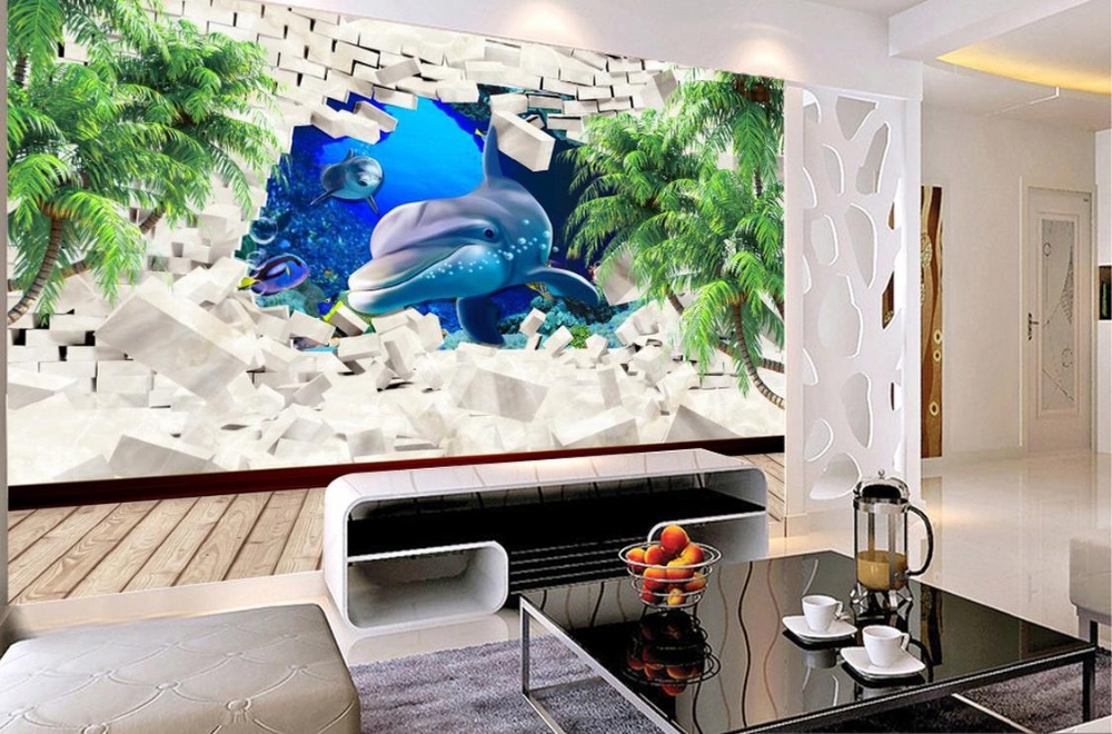 Custom 3d stereoscopic Dolphin Coconut Tree TV Wall soundproof sponge wallpapers for living room 3d photo wall mural custom baby wallpaper snow white and the seven dwarfs bedroom for the children s room mural backdrop stereoscopic 3d