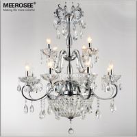 Wrought Iron Crystal Chandelier Light Fixture 2 tiers 12 E14 or E12 Lights Crystal Lustre Lamp Chandelier Lighting