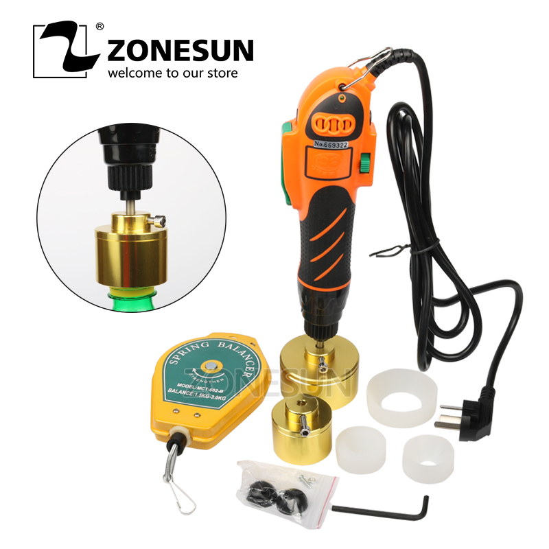 ZONESUN 110 220V Hand held bottle capping tool plastic bottle capping 10 50mm cap screw capping
