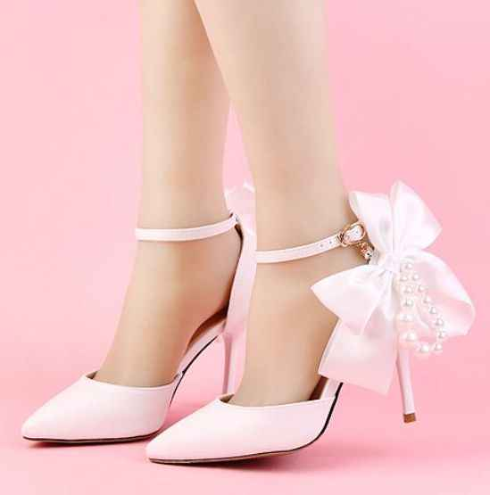 New Fashion White Satin Butterfly Knot Bow Wedding Shoes Bride