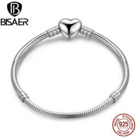 BISAER Authentic 100 925 Sterling Silver Moments Heart Snake Chain Bracelet Bangles Sterling Silver Jewelry WEUS917