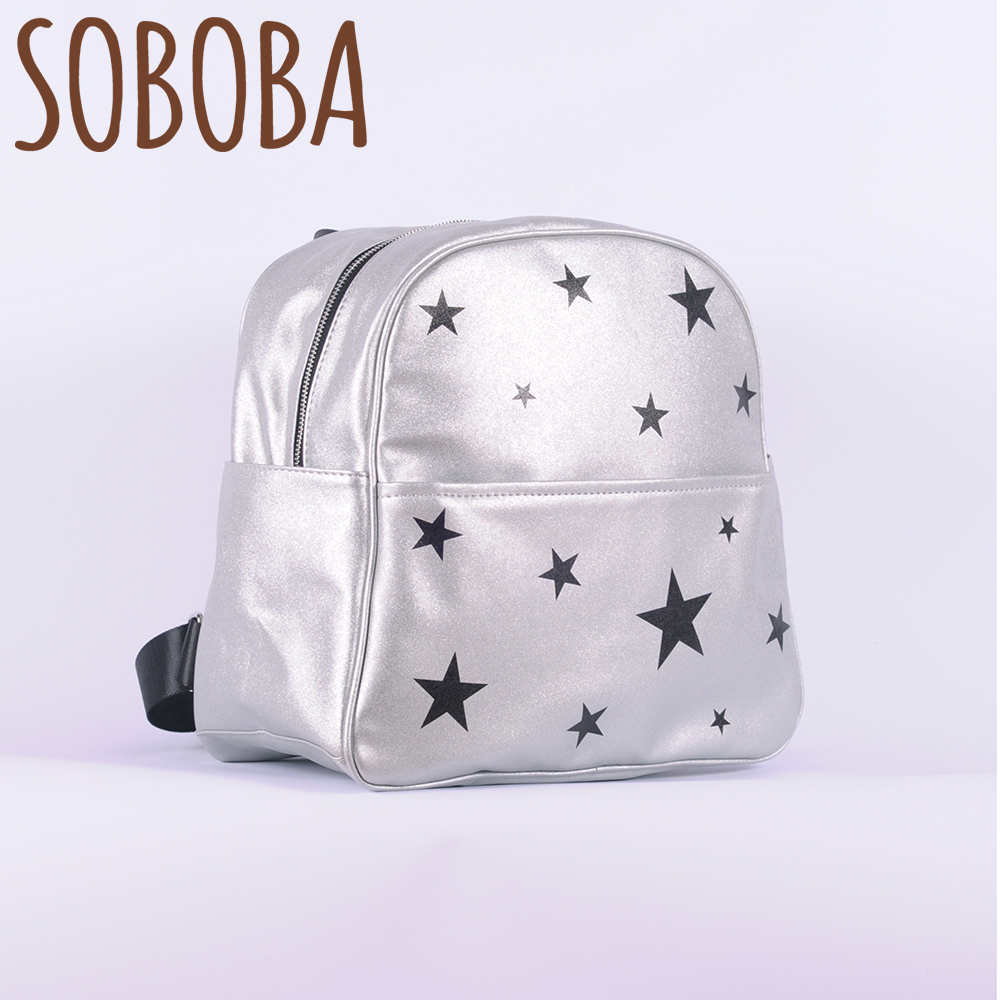 Mother Diaper Bag for Baby Silver Glitter Leather Black Stars Pattern Nappy Changing Backpack Fashion New Women Newborn Backpack