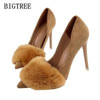 designer shoes women luxury 2018 fur bigtree shoes woman extreme high heels wedding suede pumps women shoes high heel stiletto