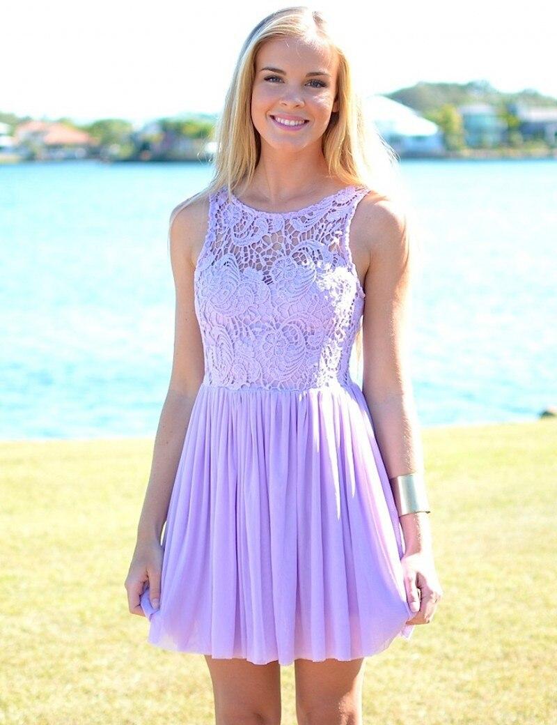 Hot Sale Summer Beach Wedding Sleeveless Purple Lavender Lace Short Bridesmaid Dress