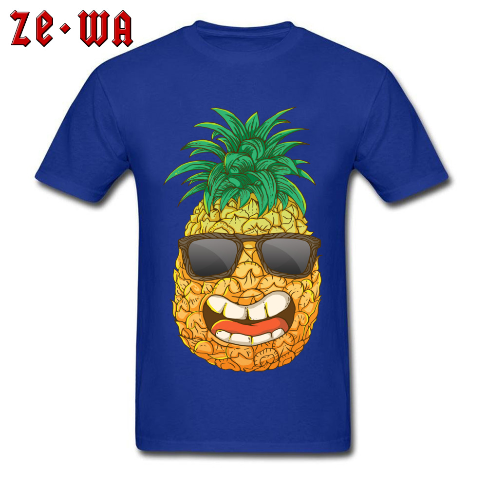Cool Pineapple Round Neck Top T-shirts Labor Day Tops Shirts Short Sleeve Special Cotton Cool Tops & Tees Custom Student Cool Pineapple blue