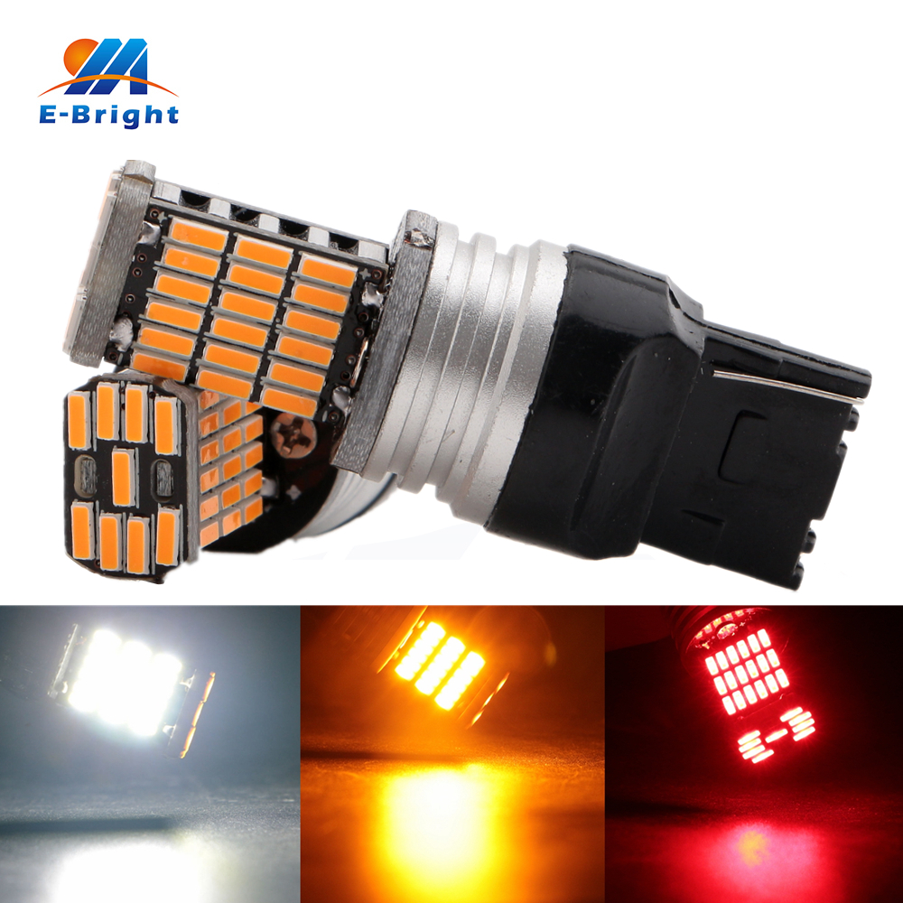 2pcs T20 7440 7443 4014 45 Smd Amber Red White Cars Led
