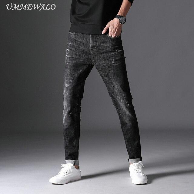 779f3cfa94230 UMMEWALO noir Skinny Jeans hommes hiver automne Stretch Denim Jeans Homme  élastique décontracté Slim Jean pantalon