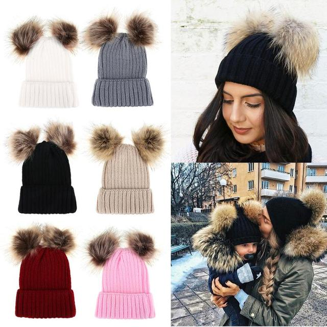 c9caa2846ca Beanies Baby Hat Pompon Winter Baby Girls Boys Autumn Warm Hat Caps Mom  Baby Double Fur Pom Pom Ball Knitted Beanies Hat